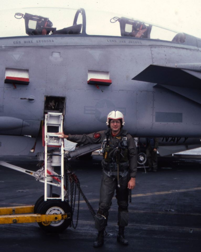 On board USS Ranger (CV-61), 2-week Active Duty for Training with VF-301 and CVWR-30 in January 1986. Mike Svoboda and I went flying that day in the aircraft with our names on it, a fairly rare occurrence, especially in the Reserves.